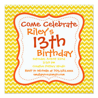 Orange Yellow Chevron Birthday Party Invitations