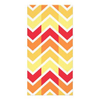 Orange Yellow Chevron Geometric Designs Color Photo Card Template