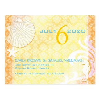 Orange + Yellow Chic Beach Wedding Save the Date Postcard