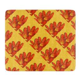 Orange yellow clivia photomontage pattern cutting board