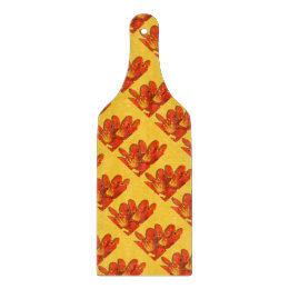 Orange yellow clivia photomontage pattern (paddle) cutting board