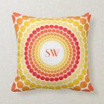 Orange Yellow Dots Monogram Throw Pillow