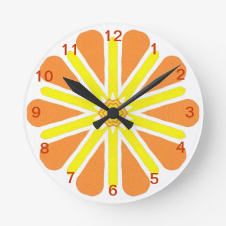 Orange Yellow Energy Burst Wall Clock