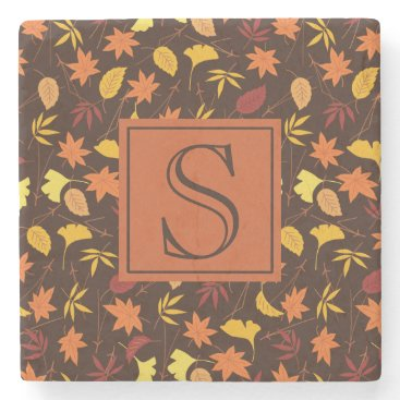 Halloween Themed Orange Yellow Fall Leaves Brown Monogram Coaster