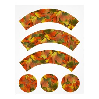 Orange & Yellow Fall Leaves Cupcake Liners Custom Letterhead