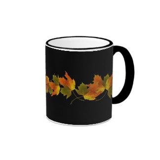 Orange & Yellow  Fall Leaves Ringer Coffee Mug