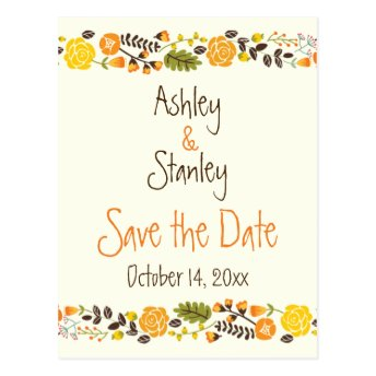 Orange, yellow floral border wedding Save the Date Post Card