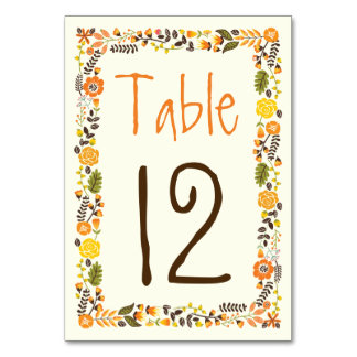 Orange, yellow floral border wedding table number card