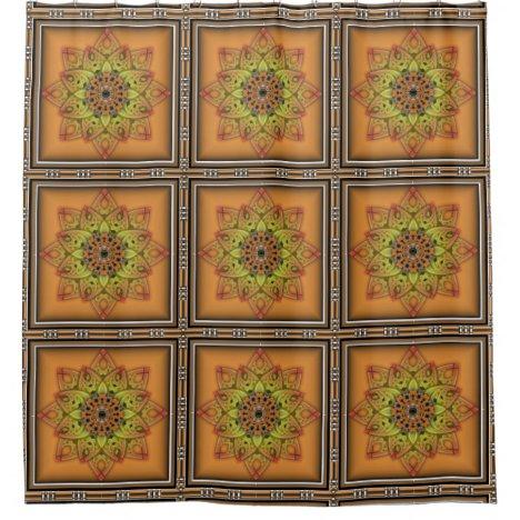 Orange Yellow Floral Seamless Tile Design Pattern Shower Curtain
