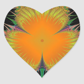 Orange Yellow Flower Fractal Art Gifts Heart Sticker