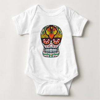 Orange Yellow Flowers Mexican Sugar Skull Baby Bodysuit