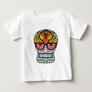 Orange Yellow Flowers Mexican Sugar Skull Baby T-Shirt