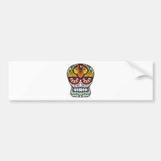Orange Yellow Flowers Mexican Sugar Skull Bumper Sticker
