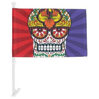 Orange Yellow Flowers Mexican Sugar Skull Car Flag