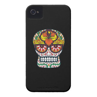 Orange Yellow Flowers Mexican Sugar Skull iPhone 4 Case-Mate Cases