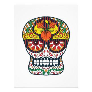 Orange Yellow Flowers Mexican Sugar Skull Letterhead