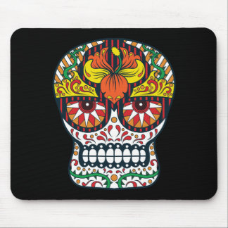 Orange Yellow Flowers Mexican Sugar Skull Mouse Pad