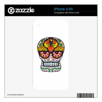 Orange Yellow Flowers Mexican Sugar Skull Skins For The iPhone 4S