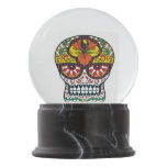Orange Yellow Flowers Mexican Sugar Skull Snow Globe at Zazzle
