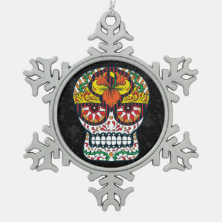 Orange Yellow Flowers Mexican Sugar Skull Snowflake Pewter Christmas Ornament