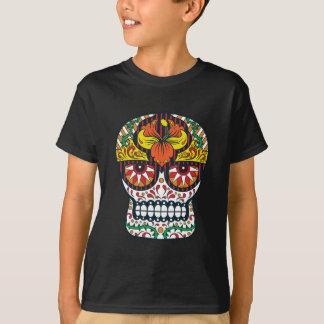 Orange Yellow Flowers Mexican Sugar Skull T-Shirt