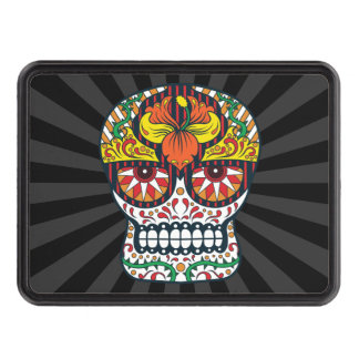 Orange Yellow Flowers Mexican Sugar Skull Trailer Hitch Cover