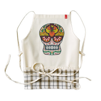 Orange Yellow Flowers Mexican Sugar Skull Zazzle HEART Apron