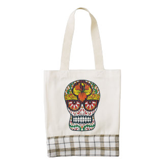 Orange Yellow Flowers Mexican Sugar Skull Zazzle HEART Tote Bag
