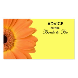 Orange & Yellow Gerber Daisy Advice for the Bride Business Card Templates