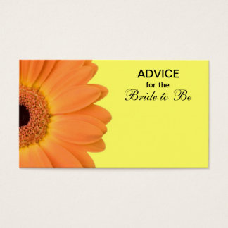 Orange & Yellow Gerber Daisy Advice for the Bride Business Card