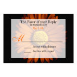 Orange Yellow Gerber Daisy Flower Wedding RSVP Personalized Invitation