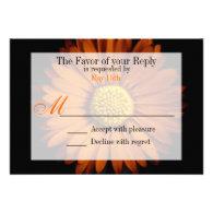 Orange Yellow Gerber Daisy Flower Wedding RSVP Personalized Invitation