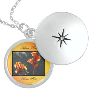 Orange Yellow Gladiolus Flowers Sterling Silver Necklace
