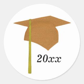 Orange & Yellow Graduation Cap Stickers, Class of Classic Round Sticker