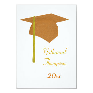Orange Yellow Graduation Cap & Tassel Invitations