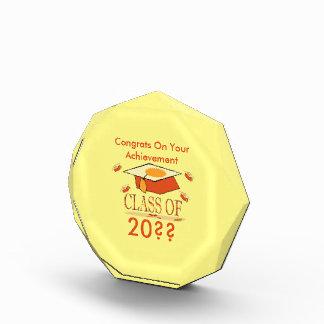 Orange Yellow Graduation Hat Class of Year Acrylic Award