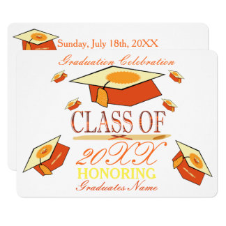 Orange Yellow Graduation Hat Class of Year Card