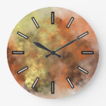 [ Thumbnail: Orange, Yellow & Gray Mist-Like Pattern Clock ]