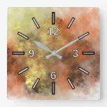 [ Thumbnail: Orange, Yellow & Gray Mist-Like Pattern Square Wall Clock ]