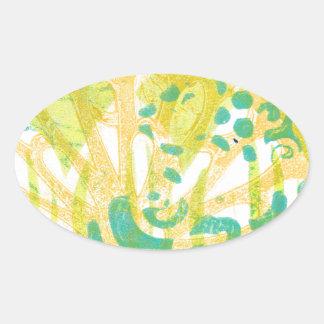Orange Yellow Green Abstract Art Design Oval Sticker