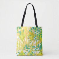 Orange, Yellow, Green Abstract Handmade Monoprint Tote Bag