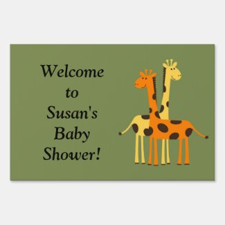 Orange Yellow Green Giraffe Baby Shower Yard Sign