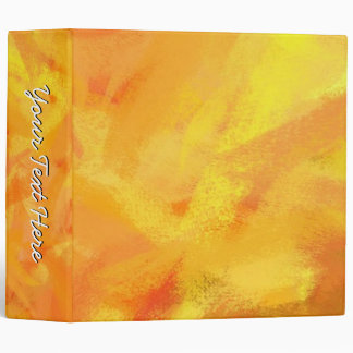 Orange Yellow Hand Painted Abstract Art 3 Ring Binder