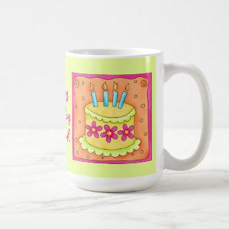 Orange Yellow Happy Birthday Cake Candles Coffee Mugs