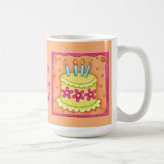 Orange Yellow Happy Birthday Cake Candles Mug