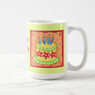 Orange Yellow Happy Birthday Cake Candles Mugs