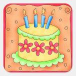 Orange Yellow Happy Birthday Cake Candles Sticker