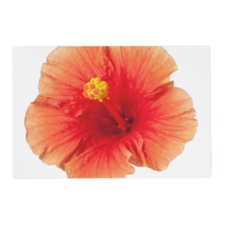 Orange Yellow Hibiscus Tropical Flower Hawaiian Placemat