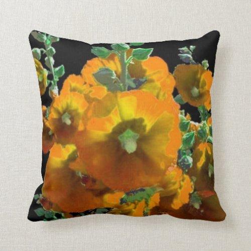 Orange-Yellow Hollyhocks Black Pillow Pillow