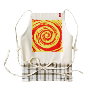Orange & Yellow Hypnotic Swirl Art Zazzle HEART Apron